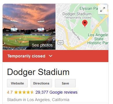 Dodg Stadium closed